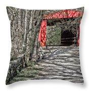 Thomas Mill Covered Bridge Throw Pillow