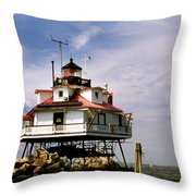 Thomas Point Shoal Lighthoues Throw Pillow