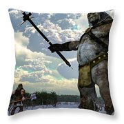 Thor And The Frost Giant Throw Pillow