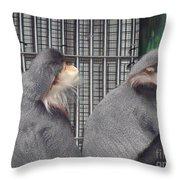 Thoughtful Monkeys Throw Pillow