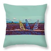 Three Amigo Windsurfers Throw Pillow by Joseph Coulombe