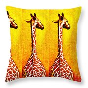 Three Amigos Giraffes Looking Back Throw Pillow