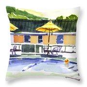 Three Amigos With Orange Beach Ball Throw Pillow by Kip DeVore