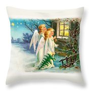 Three Angels In White Dresses Throw Pillow