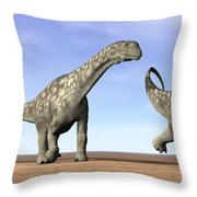Three Argentinosaurus Dinosaurs Throw Pillow by Elena Duvernay