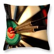 Three Arrows In The Centre Of A Dart Board Throw Pillow