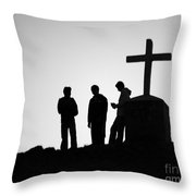 Three At The Cross Throw Pillow