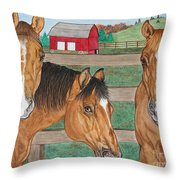 Three Beautiful Horses Throw Pillow