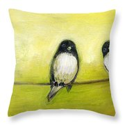 Three Birds On A Wire No 2 Throw Pillow