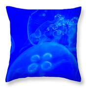 Three Blue Jellyfish Throw Pillow