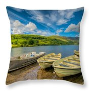 Three Boats Throw Pillow by Adrian Evans