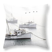 Three Boats Moored In Soft Morning Fog  Throw Pillow