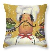Three Bowl Chef On Gold Throw Pillow