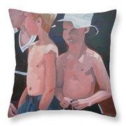 Three Boys Throw Pillow