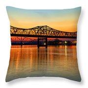 Three Bridge Sunset Throw Pillow