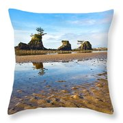 Three Brothers Rock Formation Near The Oregon Coast Throw Pillow
