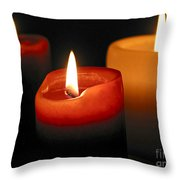 Three Burning Candles Throw Pillow by Elena Elisseeva