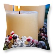 Three Burning Candles Throw Pillow