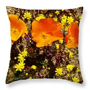 Three California Poppies Among Goldfields In Antelope Valley California Poppy Reserve Throw Pillow