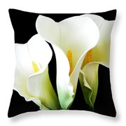 Three Calla Lilies On Black Throw Pillow