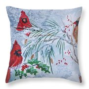 Three Cardinals In The Snow With Holly Throw Pillow