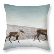 Three Caribous Throw Pillow by Priska Wettstein