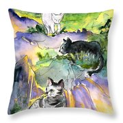Three Cats On The Penon De Ifach Throw Pillow