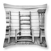 Three Chair Porch Throw Pillow