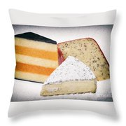 Three Cheese Wedges Distressed Throw Pillow