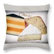 Three Cheese Wedges Distressed Text Throw Pillow