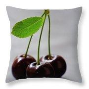Three Cherries On A Stem Throw Pillow
