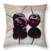 Three Cherries Throw Pillow