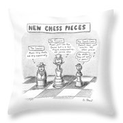 Three Chess Pieces Are Seen On A Chess Board Throw Pillow