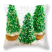Three Christmastree Cupcakes  Throw Pillow