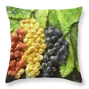 Three Colors Of Grapes Throw Pillow