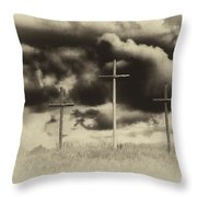 Three Crosses Sepia Throw Pillow