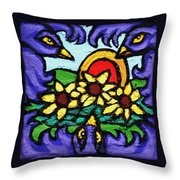 Three Crows And Sunflowers Throw Pillow by Genevieve Esson
