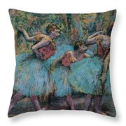 Three Dancers.blue Tutus Red Bodices Throw Pillow