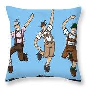 Three Dancing Oktoberfest Lederhosen Men Throw Pillow