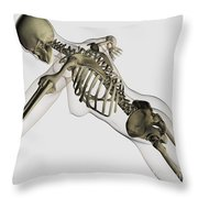 Three Dimensional View Of Female Spine Throw Pillow by Stocktrek Images
