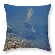Three Divers In Hawaii Throw Pillow