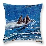 Three Dolphins Throw Pillow