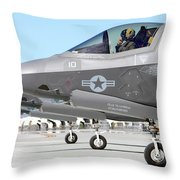 Three F-35b Lightning IIs At Marine Throw Pillow