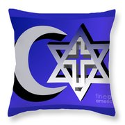 Three Faiths Throw Pillow