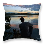 Three Fishing One Pole Throw Pillow