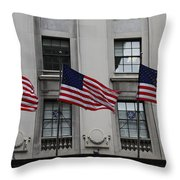 Three Flags Together On 5th Avenue Throw Pillow