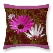 Three Flowers On Maroon Throw Pillow