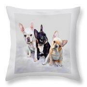 Three Frenchie Puppies Throw Pillow by Jane Schnetlage