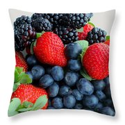 Three Fruit 2 - Strawberries - Blueberries - Blackberries Throw Pillow by Barbara Griffin