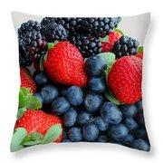 Three Fruit 2 - Strawberries - Blueberries - Blackberries Throw Pillow